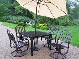 Rochester Wrought Iron 7 Pc. Swivel Dining Set with Umbrella