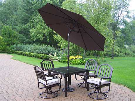 Oakland Living Rochester Wrought Iron 7 Pc. Dining Set with Umbrella