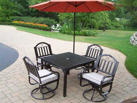 Oakland Living Rochester Wrought Iron 6 Pc. Swivel Dining Set with Cushion and Umbrella