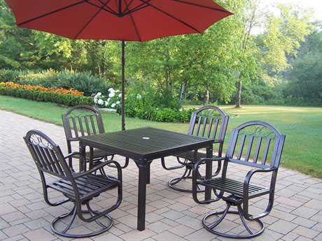Oakland Living Rochester Wrought Iron 6 Pc. Dining Set with Umbrella