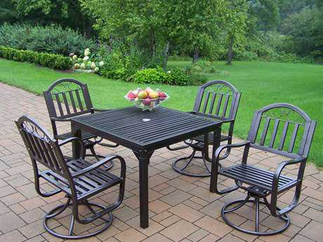 Oakland Living Rochester Wrought Iron 5 Pc. Swivel Dining Set