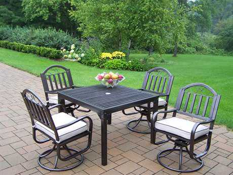 Oakland Living Rochester Wrought Iron 5 Pc. Dining Set with Cushions