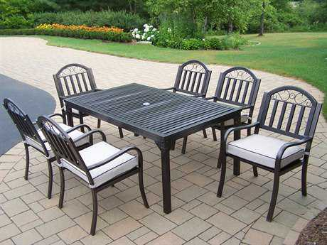 Oakland Living Rochester Wrought Iron Casual 6 Pc. Dining Set with Cushions PatioLiving