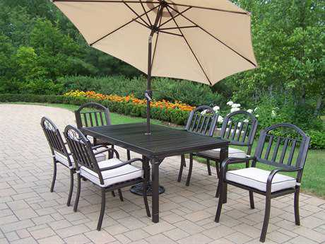 Oakland Living Rochester Wrought Iron 9 Pc. Dining Set with Cushions and Umbrella