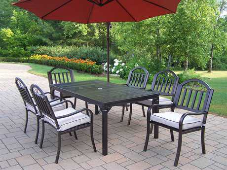 Oakland Living Rochester Wrought Iron 8 Pc. Dining Set with Cushions and Umbrella