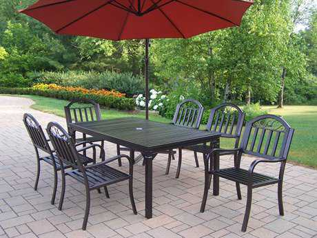 Oakland Living Rochester Wrought Iron8 Pc. Dining Set with Umbrella