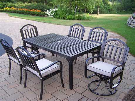 Oakland Living Rochester Wrought Iron 7 Pc. Dining Set with Cushions
