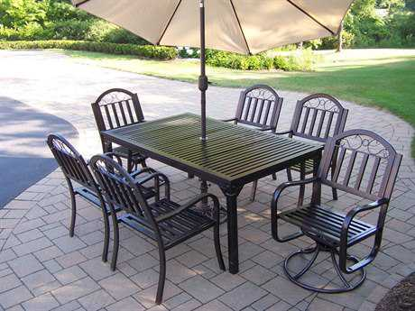 Oakland Living Rochester Wrought Iron 9 Pc. Dining Set with Umbrella