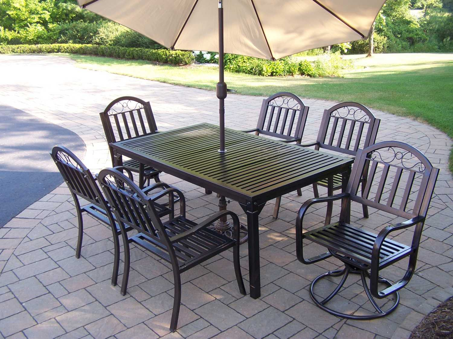 Oakland Living Rochester Wrought Iron 9 Pc. Dining Set ...