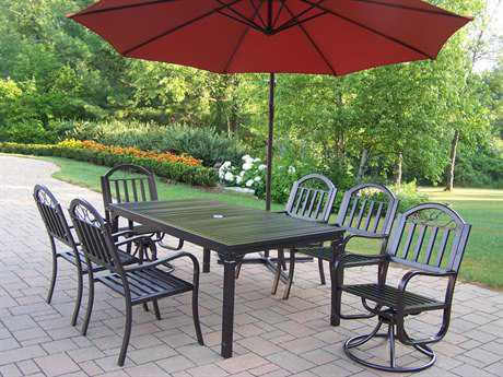 Oakland Living Rochester Wrought Iron 8 Pc. Dining Set with Umbrella