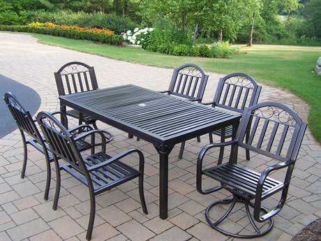 Oakland Living Rochester Wrought Iron 7 Pc Dining Set