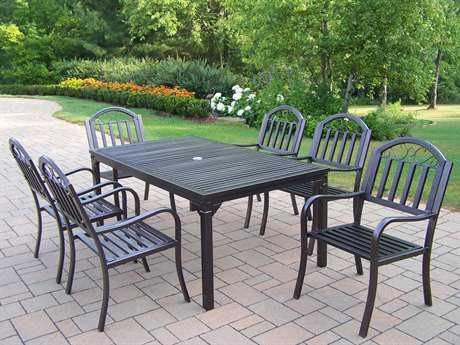 Oakland Living Rochester Wrought Iron Dining Set for 6 PatioLiving