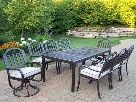 Oakland Living Rochester Wrought Iron 9 Pc Dining Set with Cushions