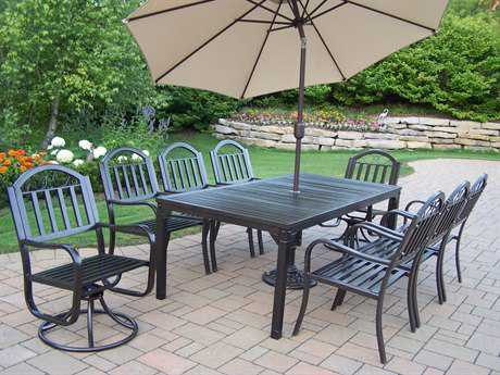 Oakland Living Rochester Wrought Iron 11 Pc. Dining Set with Umbrella