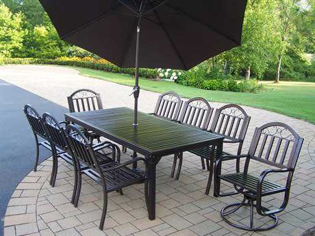 Oakland Living Rochester Wrought Iron 11 Dining Set with Umbrella