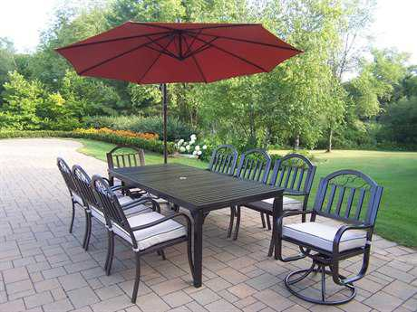 Oakland Living Rochester Wrought Iron 10 Pc. Dining Set with Umbrella