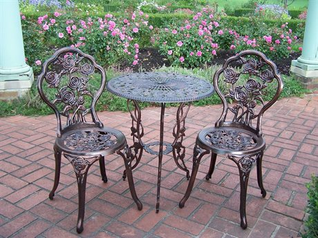 Oakland Living Rose Cast Aluminum 3 Pc. Bistro Set PatioLiving
