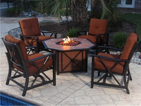 Oakland Living Fire Pit Aluminum Haywood Deep Seating 5-Piece Chat Set
