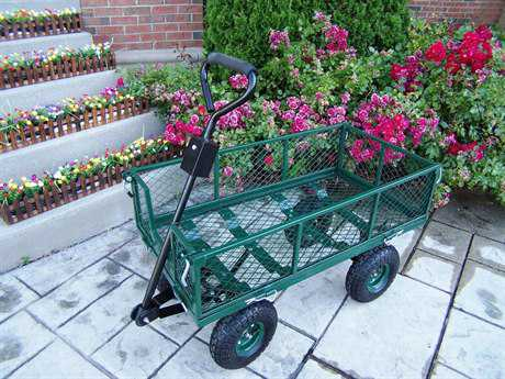 Oakland Living Steel Utility Metal Garden Cart in Green