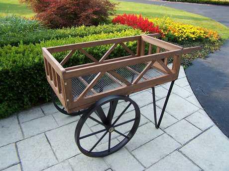 Oakland Living Steel Flower Garden Wagon on wheels in Black