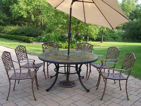Oakland Living Stone Art Mississippi Aluminum 9 Pc. Dining set with Umbrella
