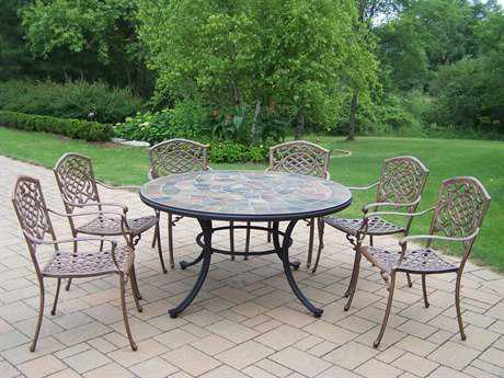 Oakland Living Stone Art Mississippi Aluminum 7 Pc. Dining set