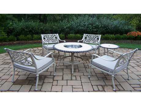 Oakland Living Stone Art Cast Aluminum 6 Pc. Chat set in Beach Sand