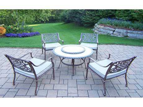 Oakland Living Stone Art Cast Aluminum 5 Pc. Chat set with Deep Seating Chairs