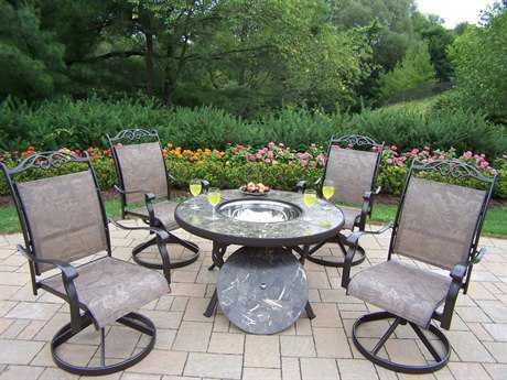 Oakland Living Stone Art Cast Aluminum Deep Seating 5 Pc. Chat Set