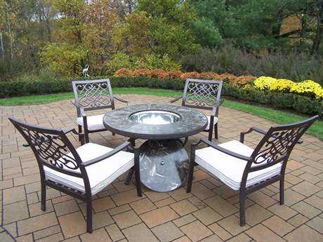 Oakland Living Stone Art Cast Aluminum Deep Seating 5 Pc. Chat Set