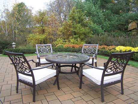 Oakland Living Stone Art Cast Aluminum Deep Seating 5 Pc. Chat Set with Cushions