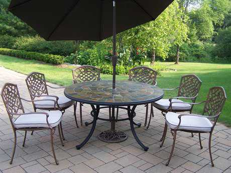Oakland Living Stone Art Mississippi Aluminum 9 Pc. Dining set with Cushions and Umbrella