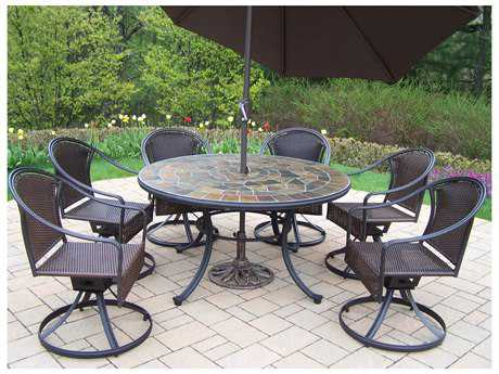 Oakland Living Stone Art Tuscany Steel Wicker 9 Pc. Dining set with Umbrella