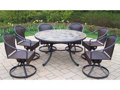 Oakland Living Stone Art Tuscany Steel Wicker 7 Pc. Dining Set