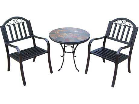 Oakland Living Stone Art Rochester Wrought Iron 3 Pc. Bistro Set PatioLiving
