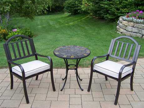 Oakland Living Stone Art Rochester Wrought Iron 3 Pc. Bistro Set with Cushions PatioLiving