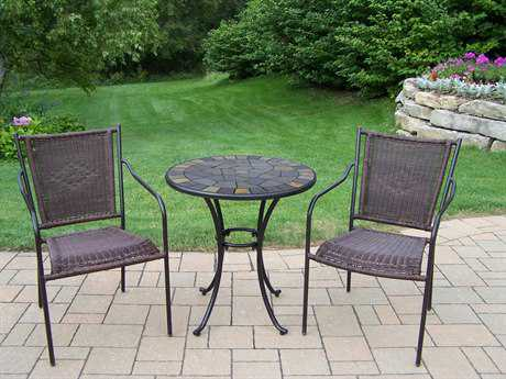 Oakland Living Stone Art Wicker 3 Pc. Bistro Set PatioLiving