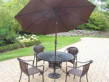 Oakland Living Sunray Tuscany Aluminum Wicker Pc. Dining set with Umbrella