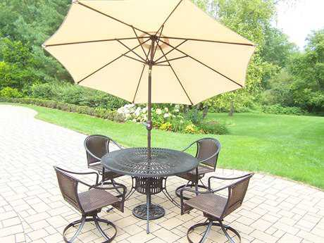 Oakland Living Sunray Tuscany Aluminum Wicker 7 Pc. Dining Set with Umbrella