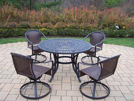 Oakland Living Sunray Tuscany Aluminum Wicker 5 Pc. Dining set