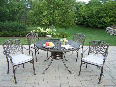 Oakland Living Sunray Mississippi Cast Aluminum 5 Pc. Dining set with Cushions