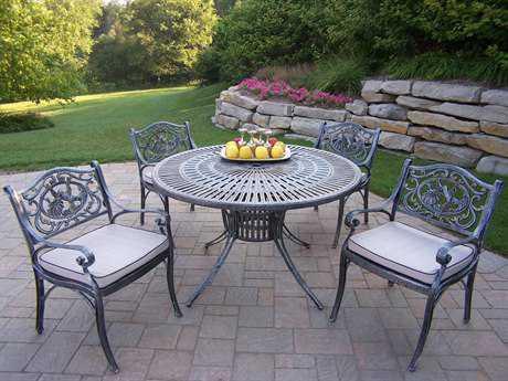 Oakland Living Sunray Tea Rose Cast Aluminum 5 Pc. Dining set with Cushions