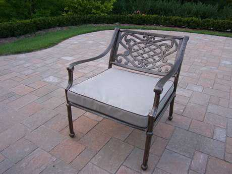 Oakland Living Tacoma Cast Aluminum Deep Seat Club Arm Chair with Cushion