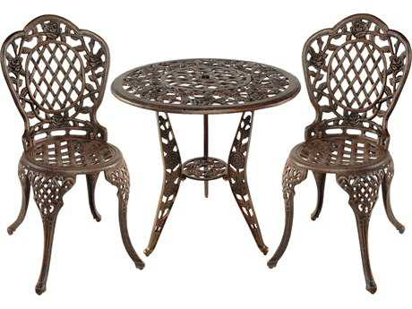 Oakland Living Tea Rose Cast Aluminum 3 Pc. Bistro Set in Antique Bronze