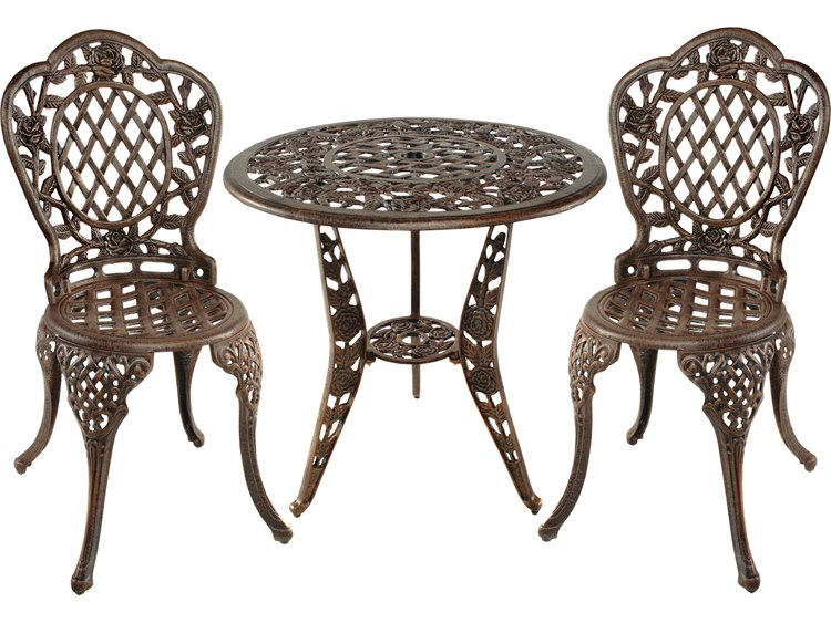 Oakland Living Tea Rose Cast Aluminum 3 Pc Bistro Set In Antique