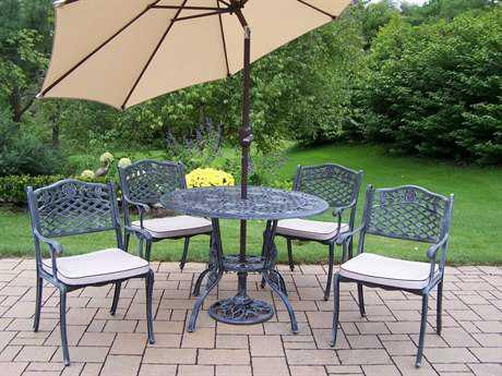 Oakland Living Tea Rose Cast Aluminum 5 Pc. Dining Set with Umbrella in Verdi Grey