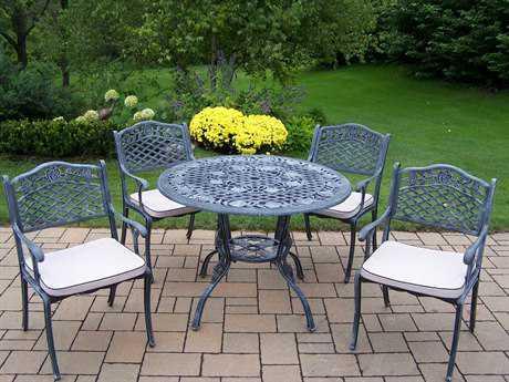 Oakland Living Tea Rose Cast Aluminum 5 Pc. Dining Set in Verdi Grey