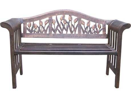 Oakland Living Tulip Cast Aluminum Royal Bench in Antique Bronze