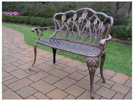 Oakland Living Tulip Cast Aluminum Loveseat Bench in Antique Bronze