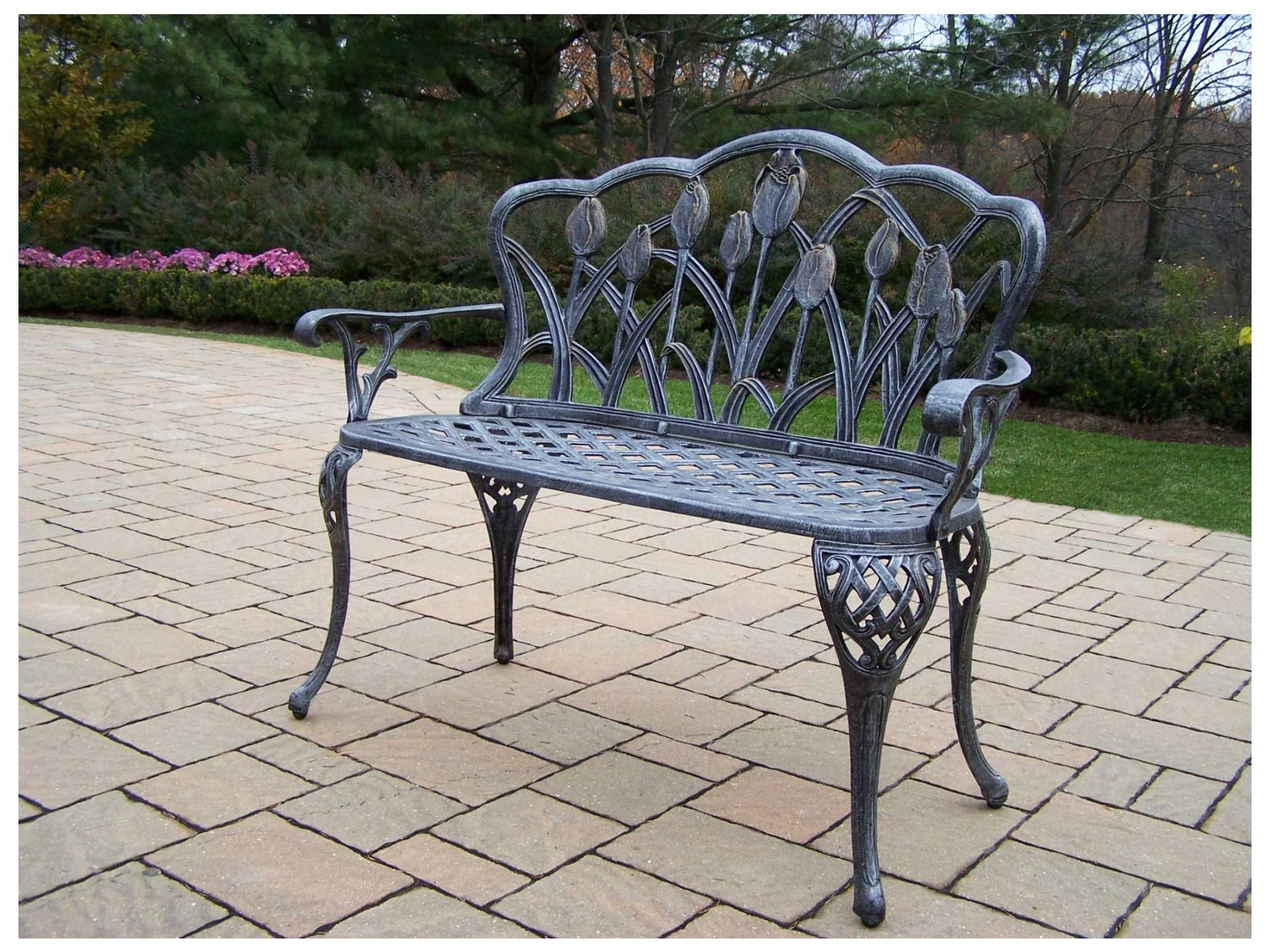 Outstanding Oakland Living Tulip Cast Aluminum Loveseat Bench In Antique Pewter Andrewgaddart Wooden Chair Designs For Living Room Andrewgaddartcom